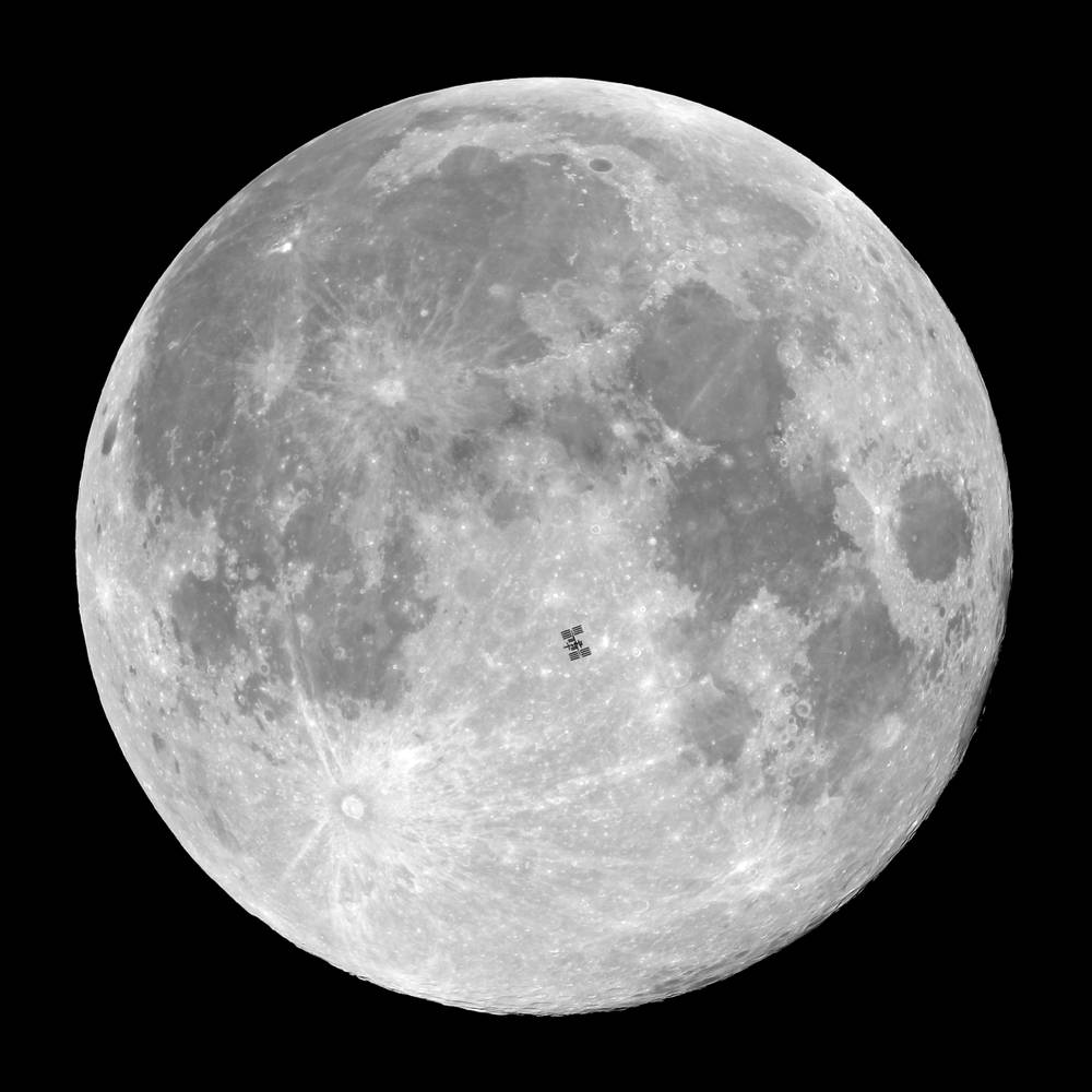 Full Moon And Space Station