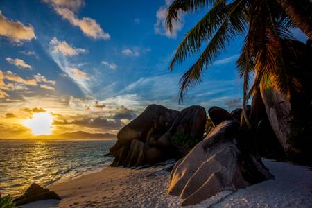 Sunset on Anse source d Argent