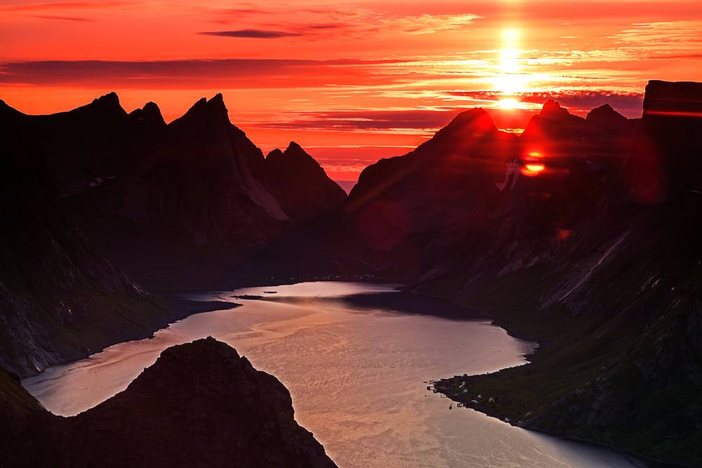 Midnight Sun In The Lofoten Islands