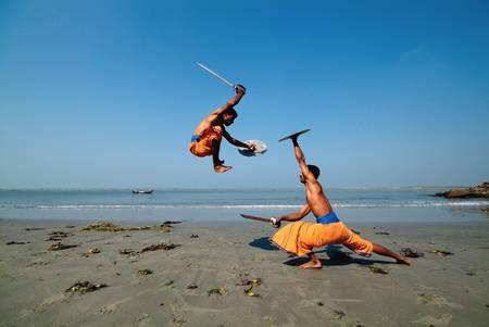 Kalarippayat on the beach of Cochin