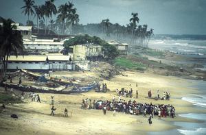 Scene De Peche Sur Une Plage Afrique