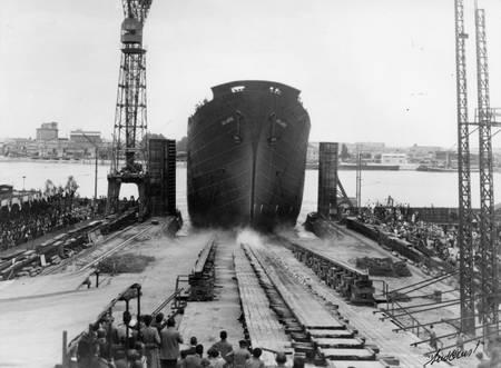 Lancement du navire Jean Laborde en 1952