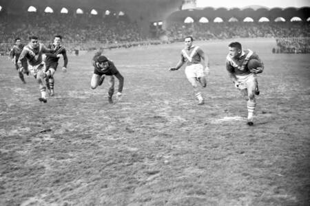 Match de rugby France contre Australie en 1953