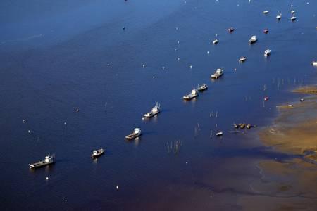 Vue aérienne de plates sur le bassin d Arcachon