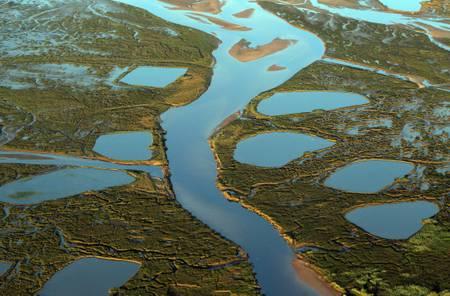 Vue aérienne des prés salés du bassin d Arcachon au soleil rasant
