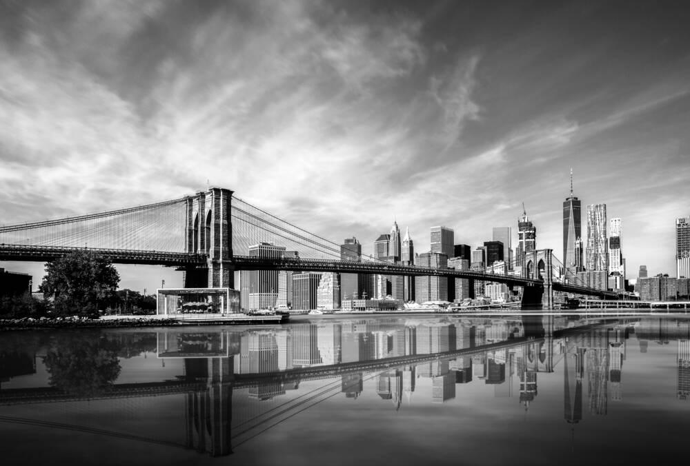 Scene Art Deco Modern Black and White New York Wall Art ...  |Brooklyn Bridge Painting Black And White