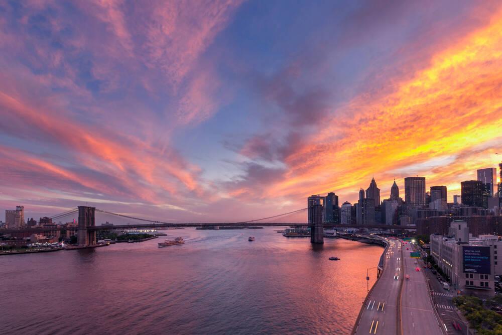 Photo d 39 art coucher de soleil sur le brooklyn bridge new - Coucher du soleil new york ...