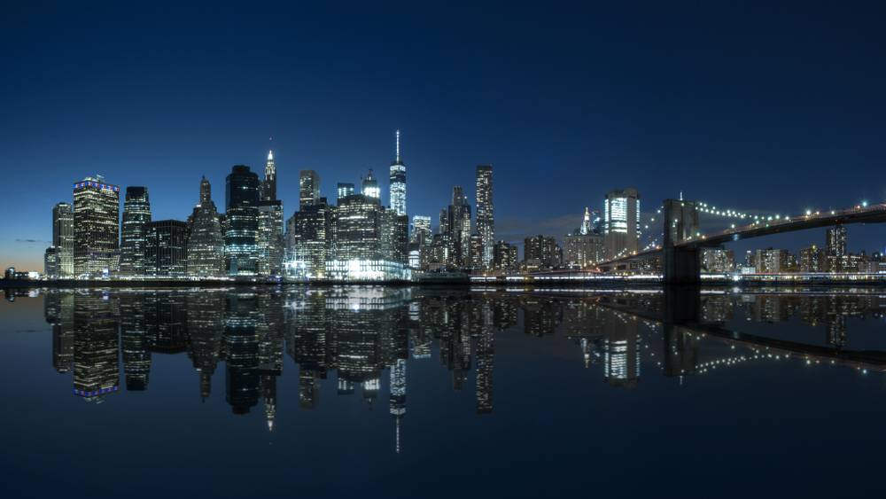 photo d 39 art manhattan new york by night artiste dominique richeux artphotolimited. Black Bedroom Furniture Sets. Home Design Ideas
