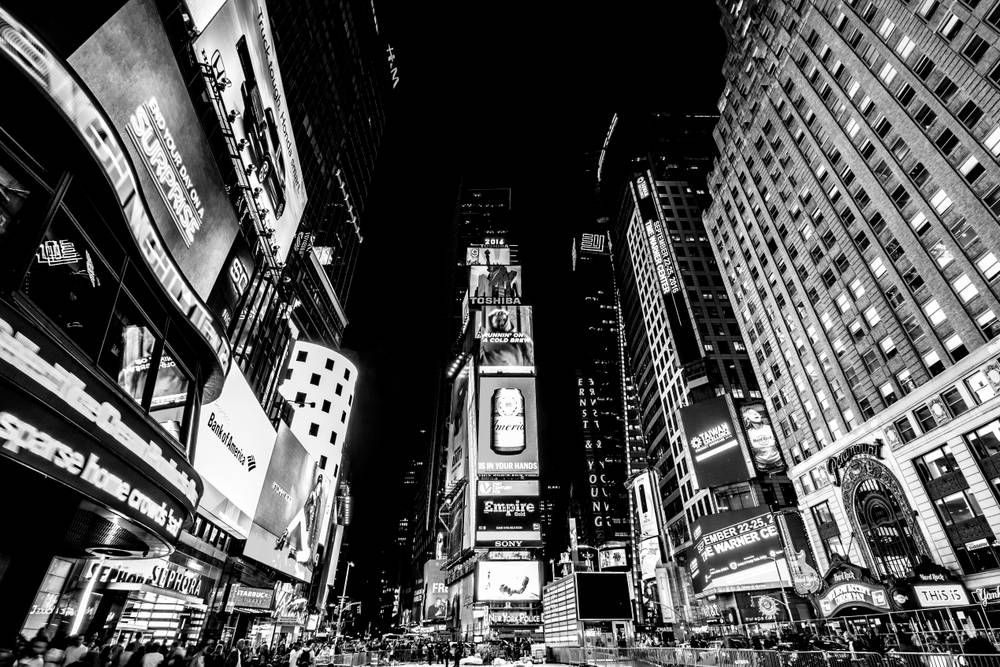 Photo d 39 art new york city times square noir et blanc artiste dominique - Cadre new york noir et blanc ...
