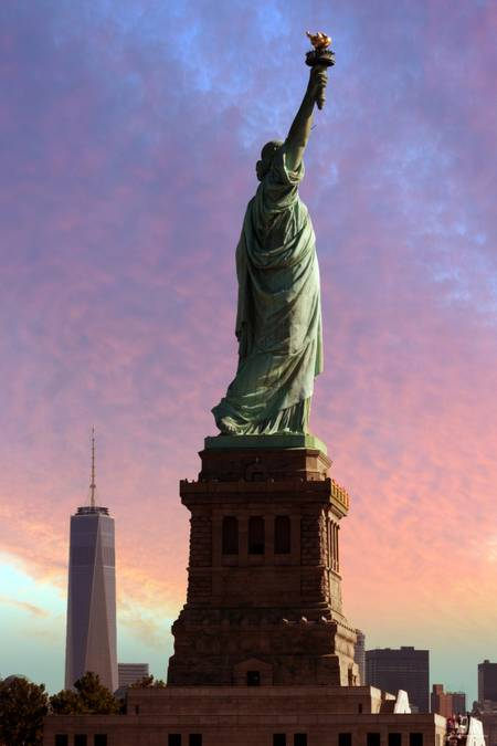 The Statue of Liberty at Sunset New York