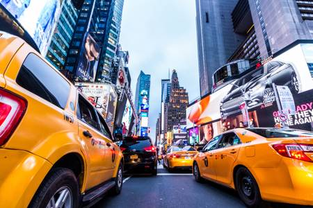 New York City Times Square e taxi gialli