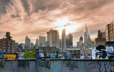 Street Art and Sunset on New York City