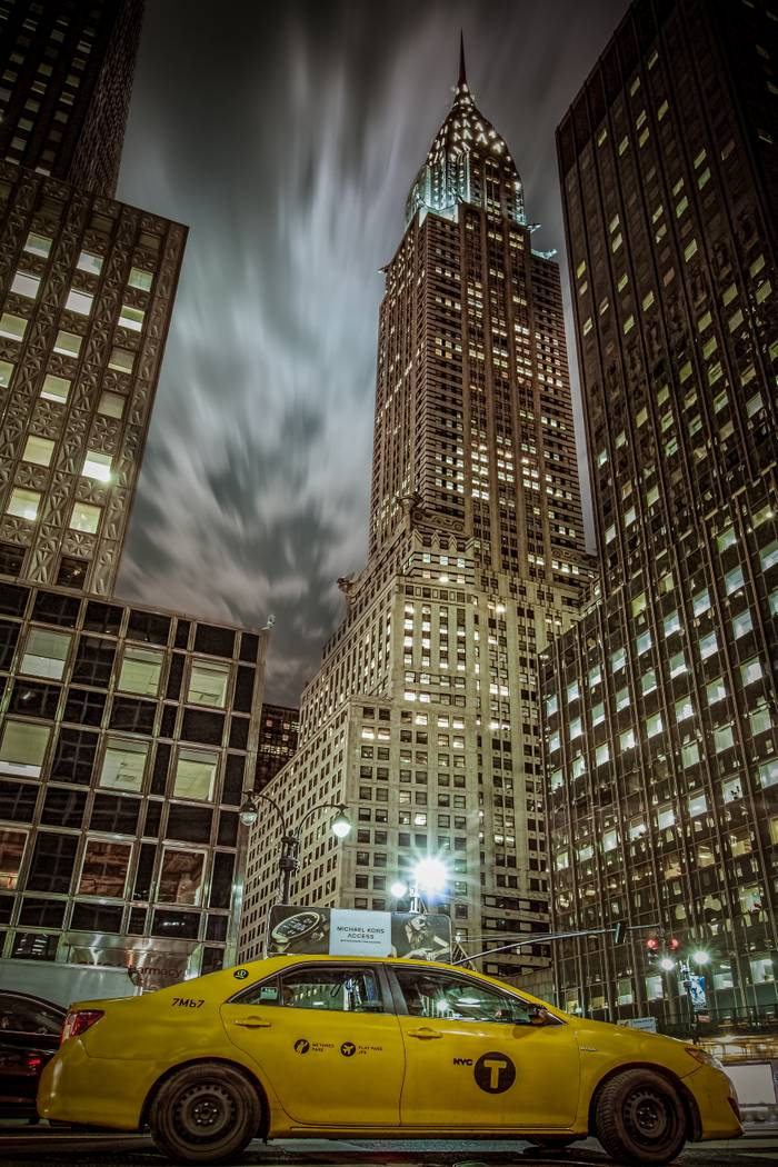 Chrysler Building And Yellow Cab