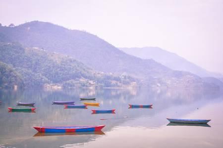 Die Boote von Pokhara