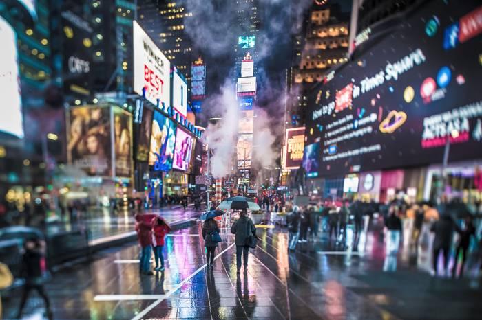 Time Square Sous La Pluie De Janvier