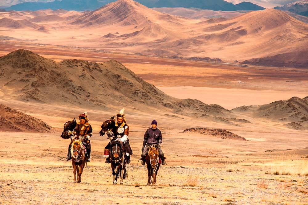 Chasse Aves Les Aigles En Mongolie