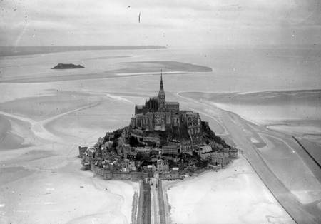 Aerial view of Mont-Saint-Michel in the 1950s