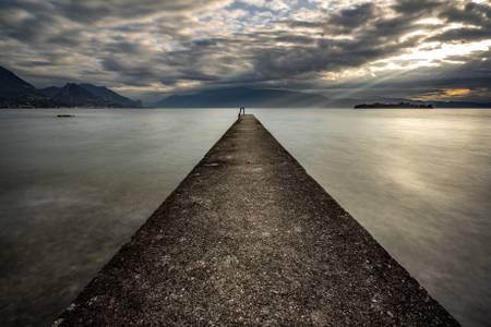 A pontoon on the lake