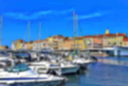View of the port and the bell tower of the church of Saint Tropez France