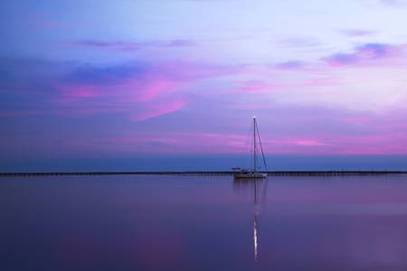 Blue hour on Thau lagoon
