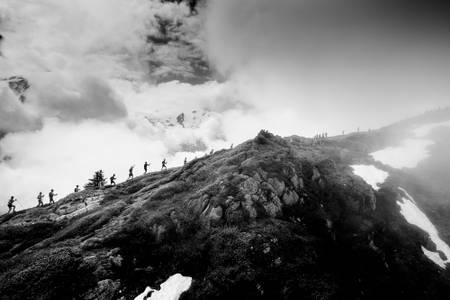 Trailers in line of ridge in Vallorcine