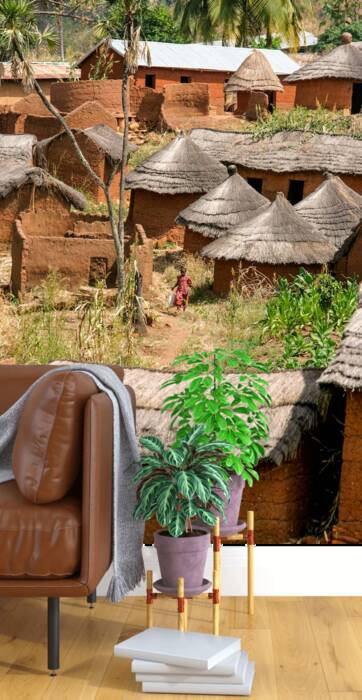 THE RED DRESSED GIRL IN A VILLAGE IN BENIN