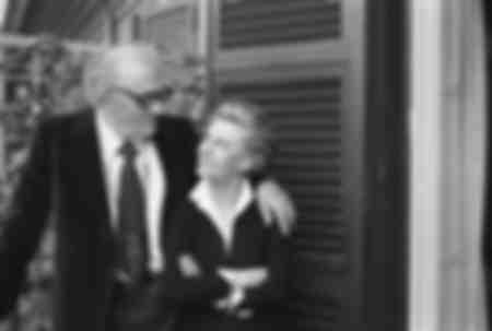 Federico Fellini och hans fru Giuletta Masina 1980
