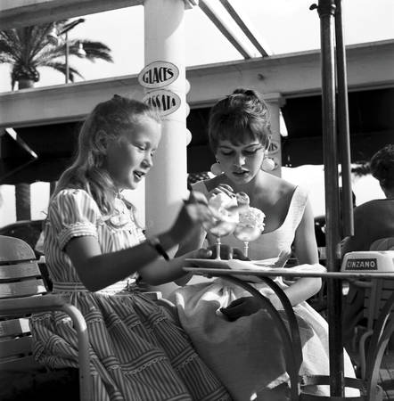 Brigitte Bardot and Brigitte Fossey at the 8th Cannes Film Festival