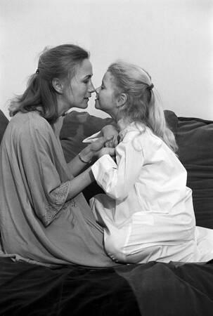 Brigitte Fossey and her daughter