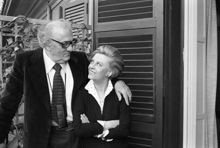 Federico Fellini e sua moglie Giuletta Masina nel 1980