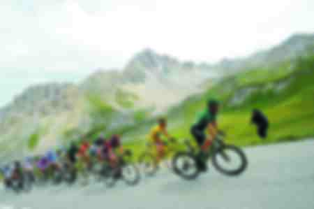 The Tour riders attacking in Alpe d'Huez