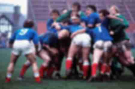 Rugby match tournament of 5 nations Ireland - France 1977