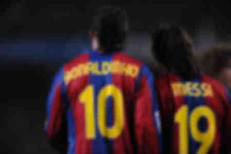 Messi und Ronaldinho FC Barcelona 2008