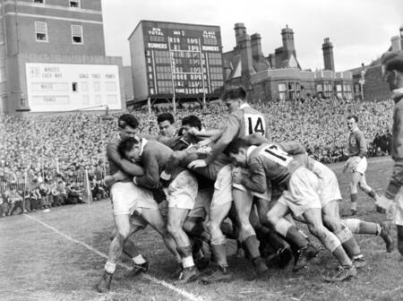 Match rugby tournoi des 5 nations Galles - France 1956