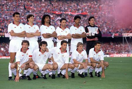 L'équipe du Milan AC en 1989 avant la finale face au Steaua Bucarest