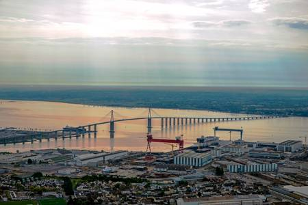 the port of Saint Nazaire at the end of the bridge