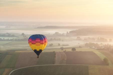 hot air balloon one autumn morning