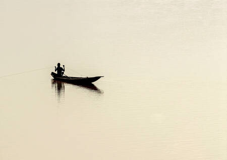 Fisherman on the Niger River in Goudel