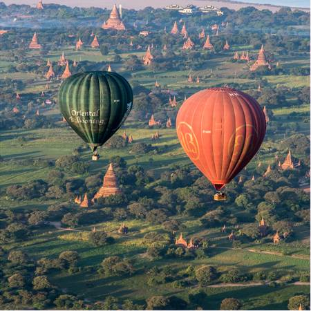 in a balloon over Bagan