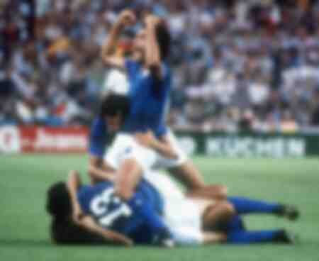 Antonio Cabrini and Claudio Gentile celebrate winning the 1982 World Cup