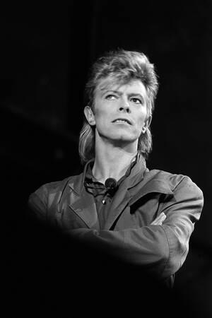David Bowie during a concert in La Courneuve