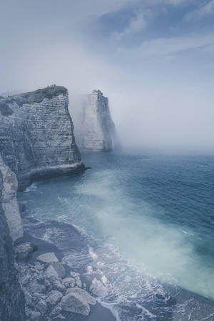 The cliffs of Etretat in the mist