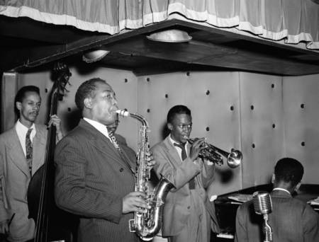 Charlie Parker and Miles Davis in 1947