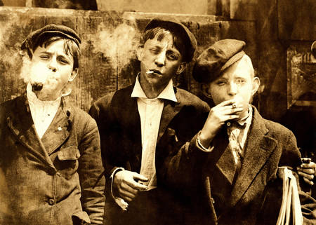 Newsboys smoking at Skeeter's Branch