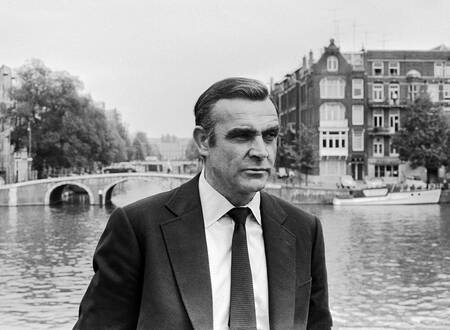 Sean Connery on the set of James Bond