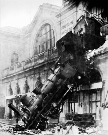 Wreck train at Montparnasse station