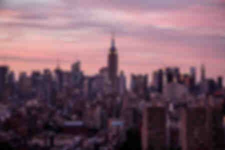 A pink sunset in New York City