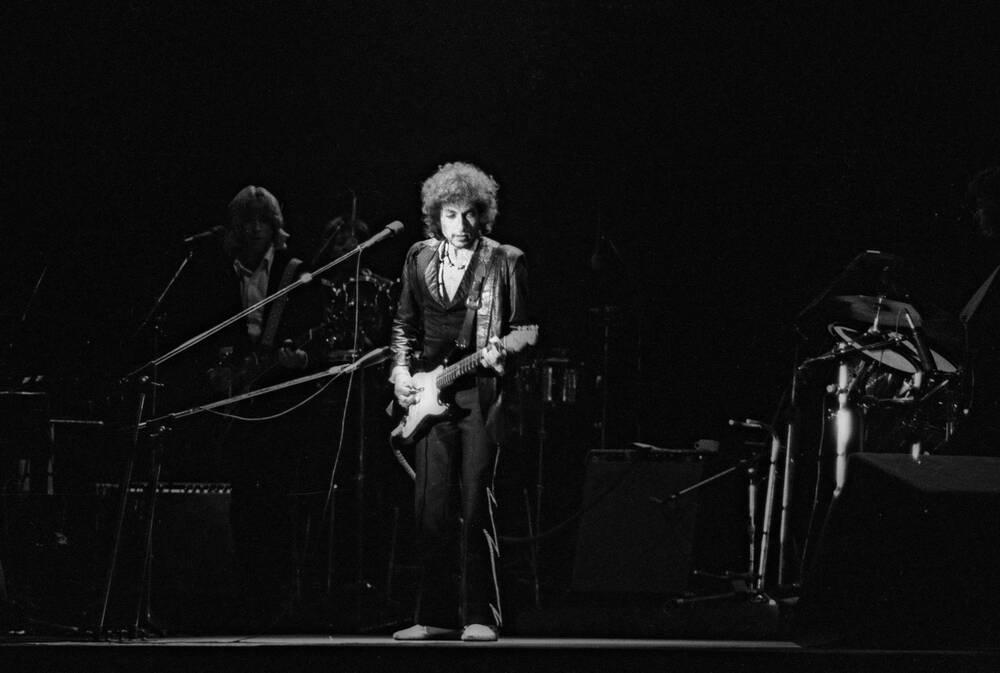 Bob Dylan während eines Konzerts 1978