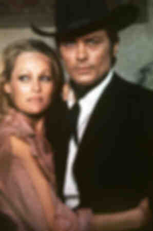 "Alain Delon and Ursula Andress on the set of ""Red Sun"""