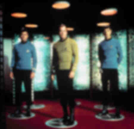 DeForest Kelley - William Shatner - Leonard Nimoy on the Star Trek teleportation platform